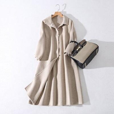 毛呢外套羊毛大衣-純色單排扣翻領長款女外套2色73ty45【獨家進口】【米蘭精品】