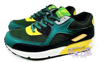 【巷子屋】JIMMY POLO 男款寬楦氣墊運動慢跑鞋 [68043] 黑綠 AIR MAX同款 超值價$398