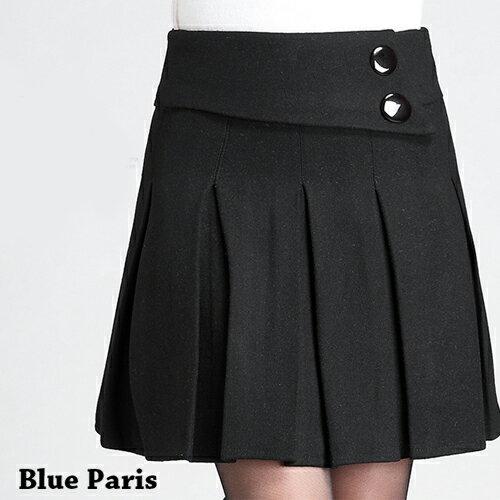 裙子 - 兩釦高腰毛呢百褶裙【23310】藍色巴黎 - 現貨+預購 0