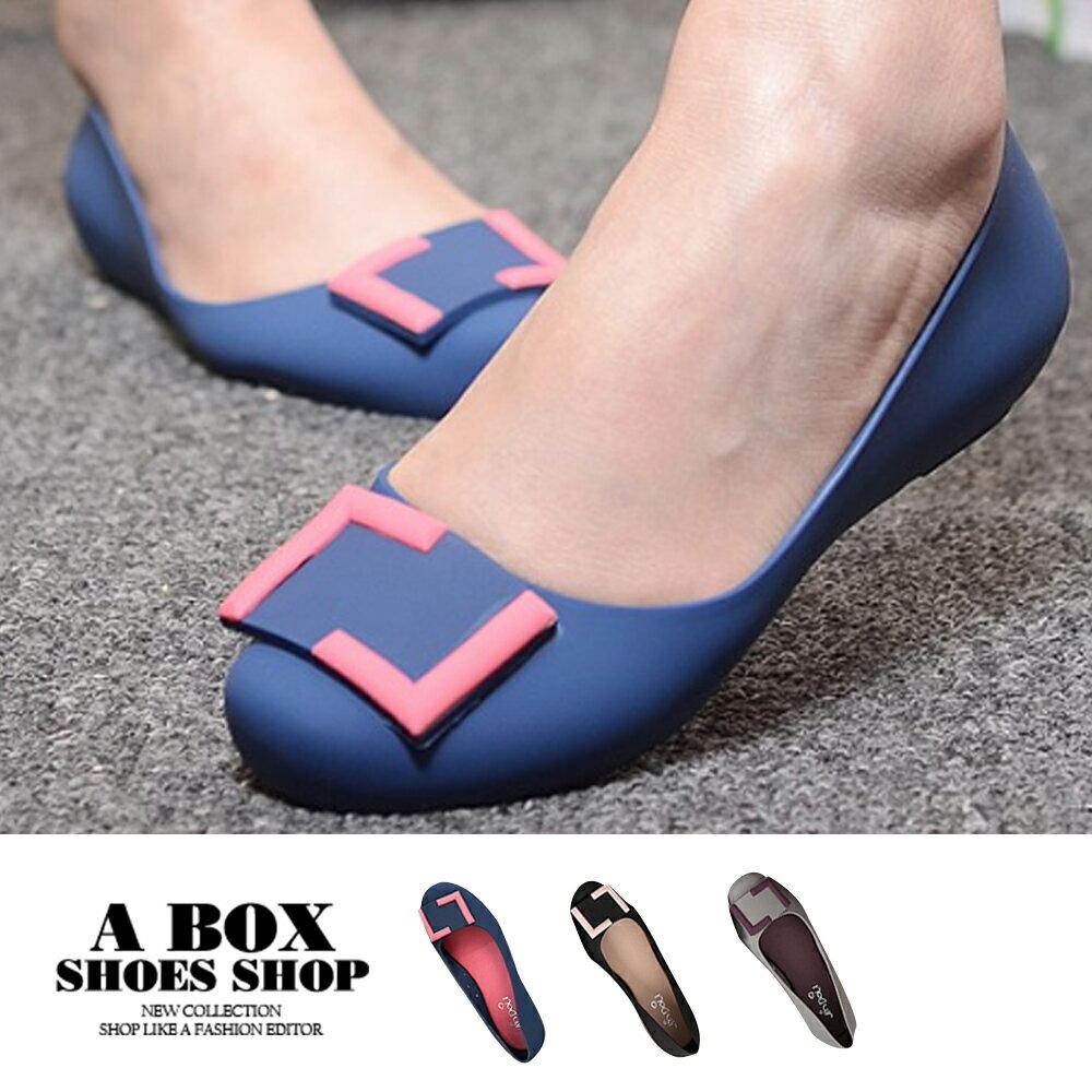 雨鞋 時尚幾何方扣設計2.5cm小坡跟 舒適防水防滑雨鞋 海灘鞋 3色【AR512-1】