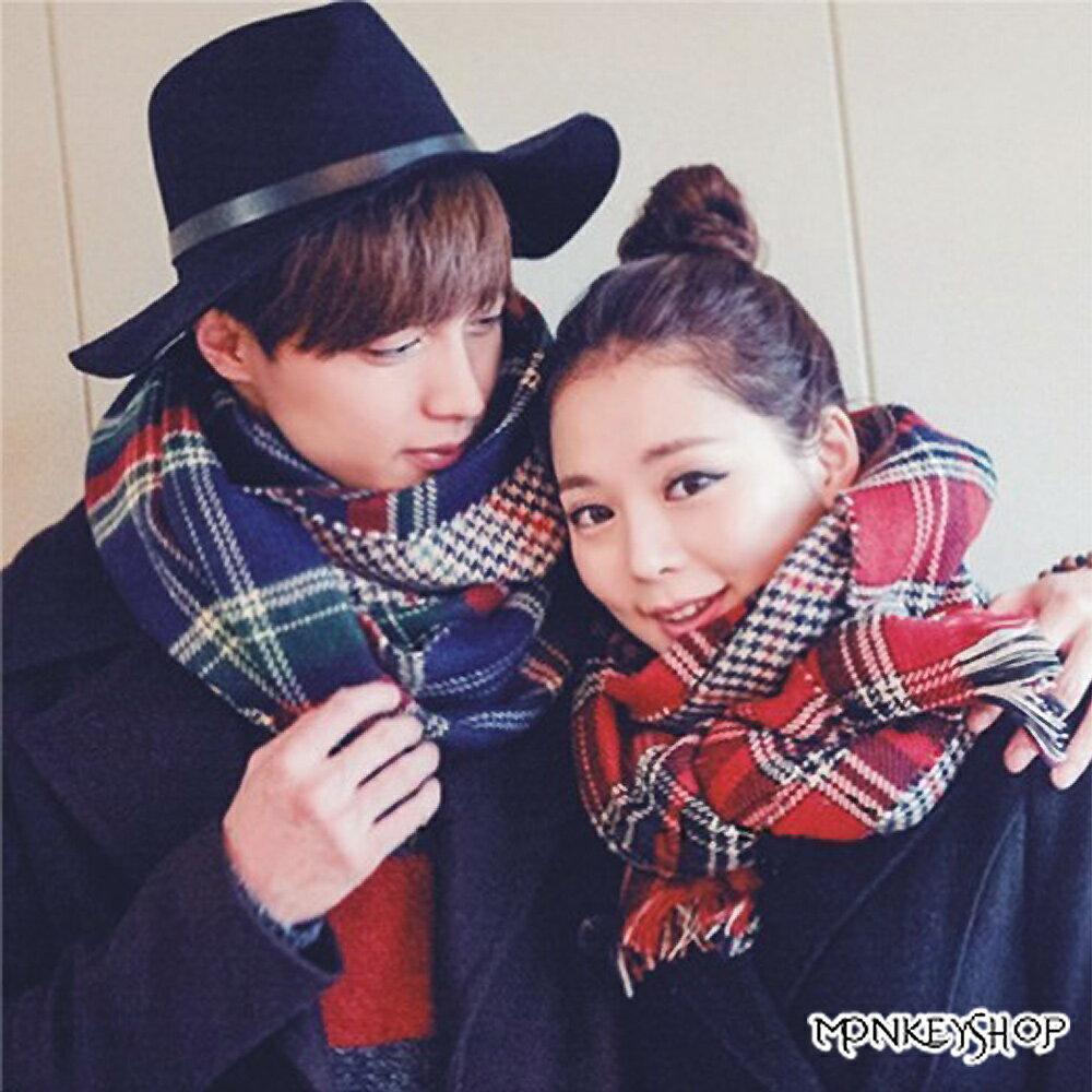 《Monkey Shop》韓國製超高質感 型男必備款 高質感蘇格蘭格紋寬版雙面用圍巾