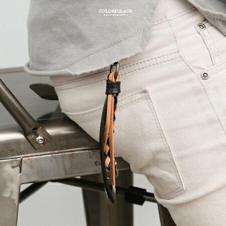個性黑咖皮革編織流蘇鑰匙圈柒彩年代【NF84】掛於包包腰間