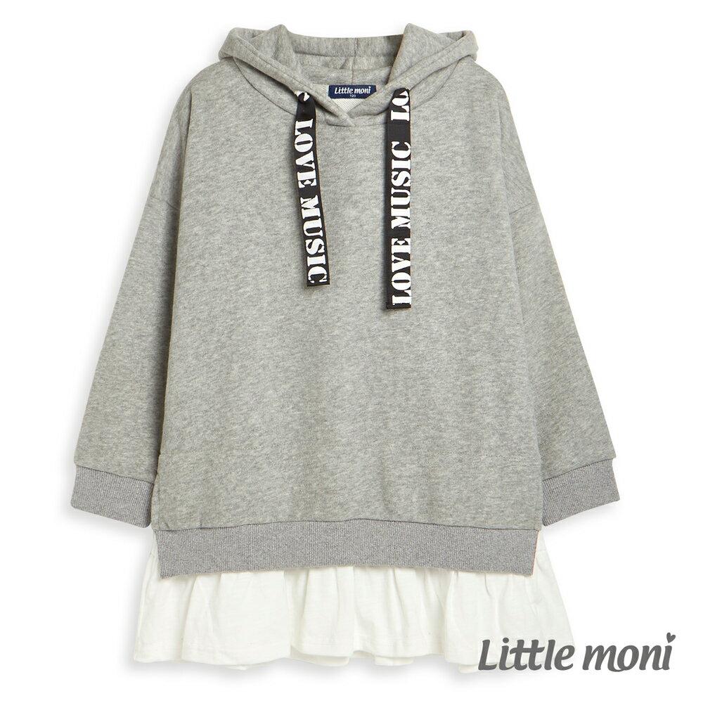 Little moni 連帽織帶拼接長版上衣-灰色(好窩生活節) 0