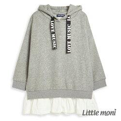 Little moni 連帽織帶拼接長版上衣-灰色