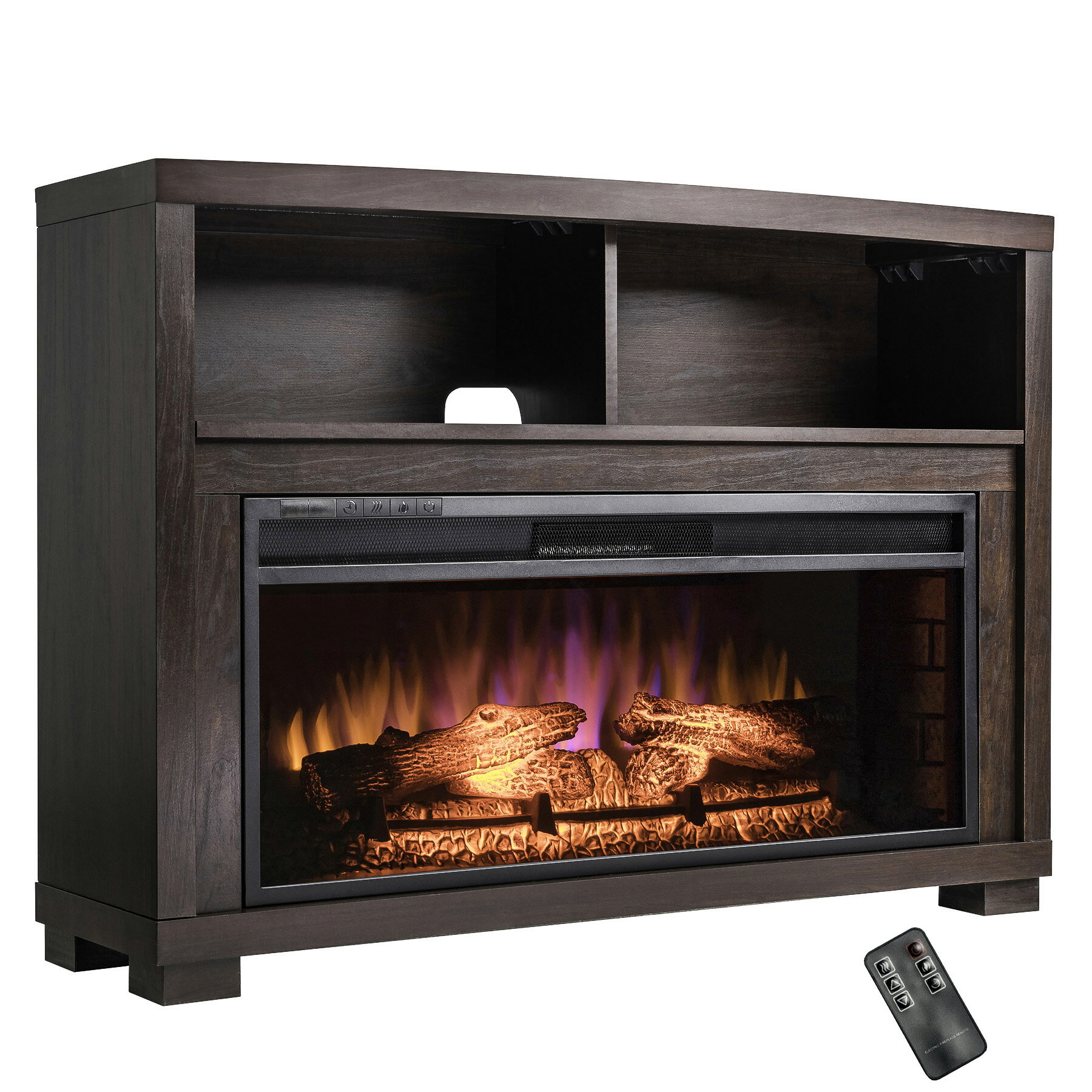 "AKDY 44"" Freestanding Insert Wooden Mantel 3D Flame Black Fireplace Heater Stove w/ Remote 2"