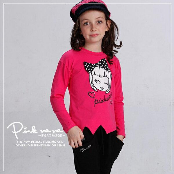 PINKNANA女童裝 可愛娜娜圖樣棉質上衣 長袖棉T 30137