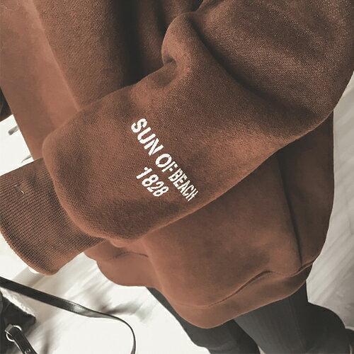 上衣 - 胸前X立體壓線字母印花刷毛長袖T恤【29188】藍色巴黎《2色》現貨 + 預購 2