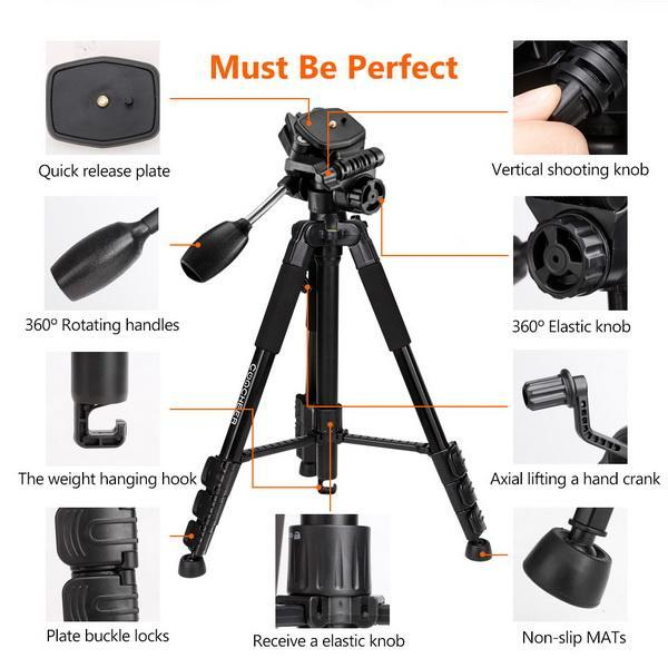 Portable Flexible Camera Tripod 4 Sections Stand for DSLR 3