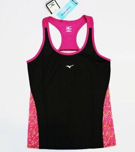 [陽光樂活]MIZUNO美津濃女路跑背心挖背閃電紋台灣製造J2TA620109黑x紫粉紅