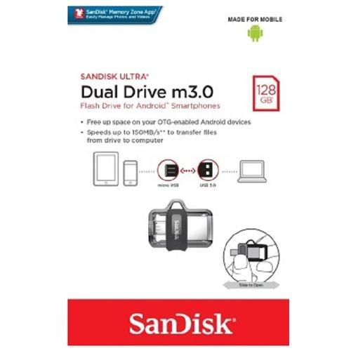SanDisk 128GB OTG Ultra Dual microUSB 128G USB 3.0 150MB/s Flash Pen Drive SDDD3-128G + USB 2.0 OTG microUSB Reader 1