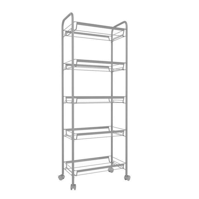 3/4/5 Tier Rolling Cart Organization with Wheels Net Basket Storage Cart Rack 1