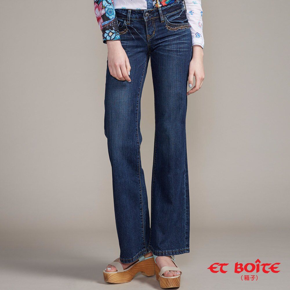 【任2件1580】嬉皮貼皮繡花牛仔靴型褲 - BLUE WAY  ET BOiTE 箱子 3