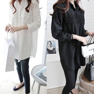 PS Mall 韓版蕾絲拼接長袖襯衫 長版上衣 連身裙【T355】