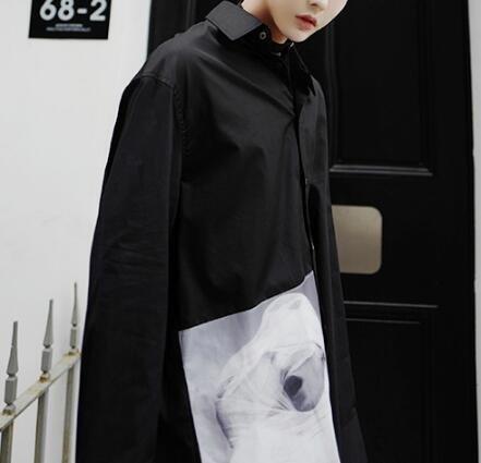 FINDSENSE Z1 韓國 時尚 潮 男 寬鬆大尺碼 下擺人臉印花 長袖襯衫 特色襯衫