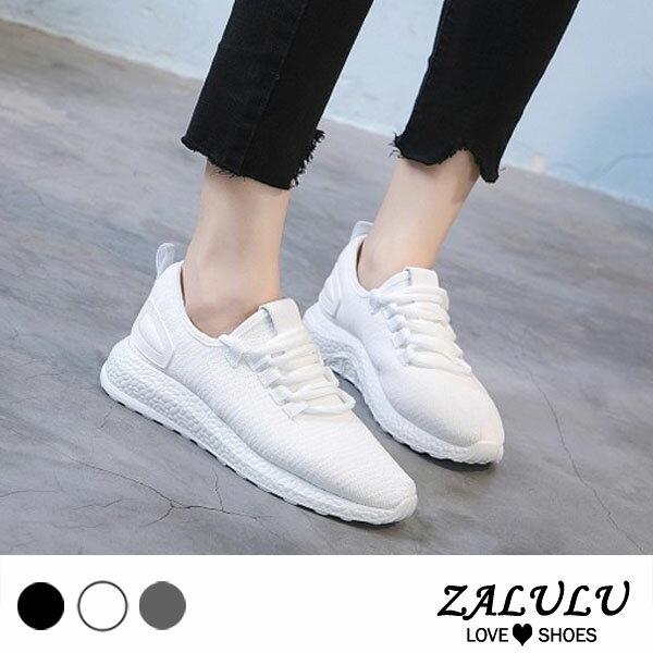 ZALULU愛鞋館7CE243網美推薦休閒運動透氣布鞋-偏小-灰白黑-36-39