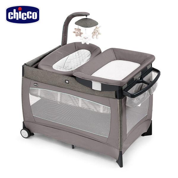 義大利【Chicco】LULLAB Baby多功能豪華遊戲床(摩卡棕/灰)