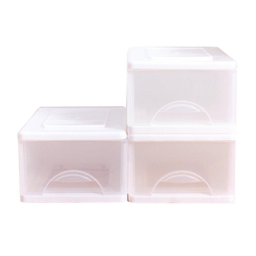 E&J【652041】Mr.box中純白一層收納櫃16.5L(3入) 收納箱/整理箱/收納袋/衣櫃/衣櫥