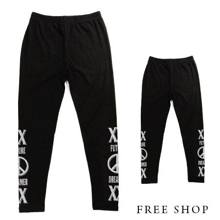 Free Shop【QSPG2550】街頭潮流雙X字母反戰和平標誌彈性緊身內搭褲‧黑色 MIT台灣製