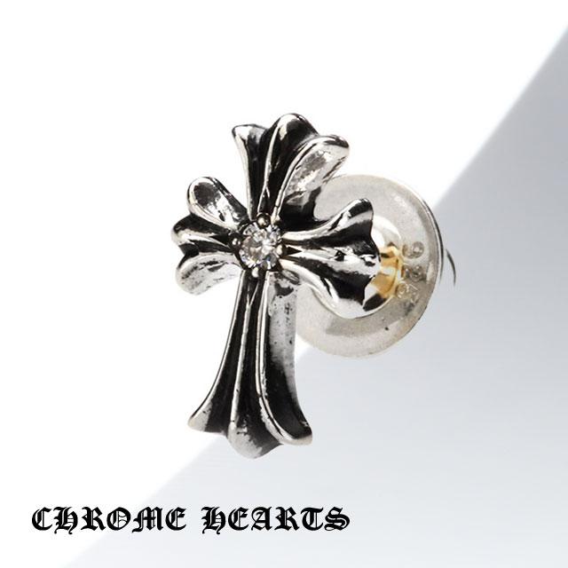 【Chrome Hearts】十字架造型純銀耳環 - 鑲鑽款 (CHE-037)