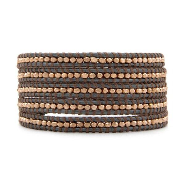 【CHANLUU】玫瑰金不規則編織棕色皮繩手環5圈(CL-BS-2851Taupe-Gray)