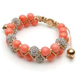 【KAPARA】玫瑰金不銹鋼珊瑚白晶雙層串珠手鍊 (KB-K162)