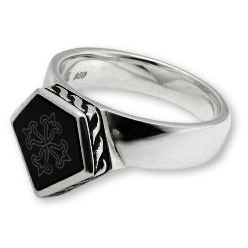 獨家現貨【Gengrail】Edged Black 古典雕花黑瑪瑙純銀戒指 (GER007)