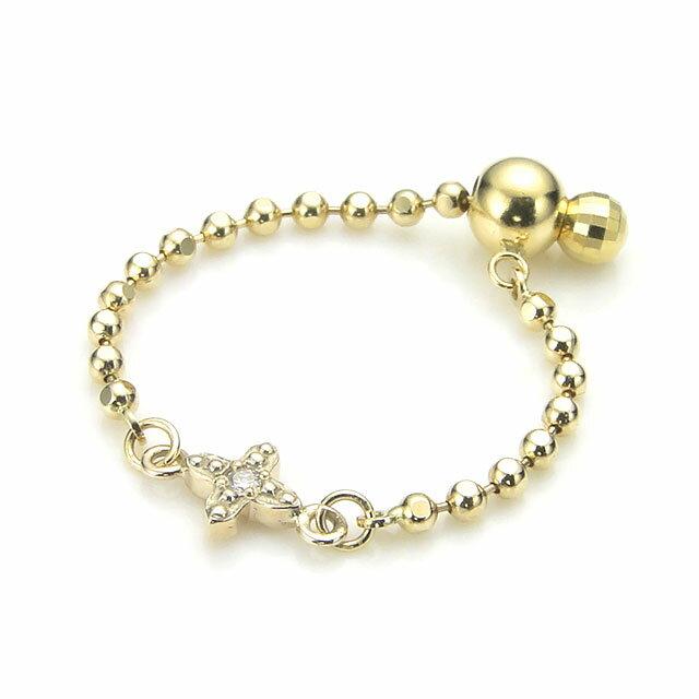 【海外訂購】【KONRON】杜蘭朵系列 十字鑲鑽K金鍊型指節戒指(KRBCR0012-k10-D)