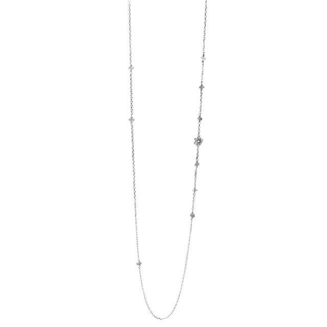 【KONRON】蓮花拉長石純銀項鍊 80cm (KRN1108-La-80)