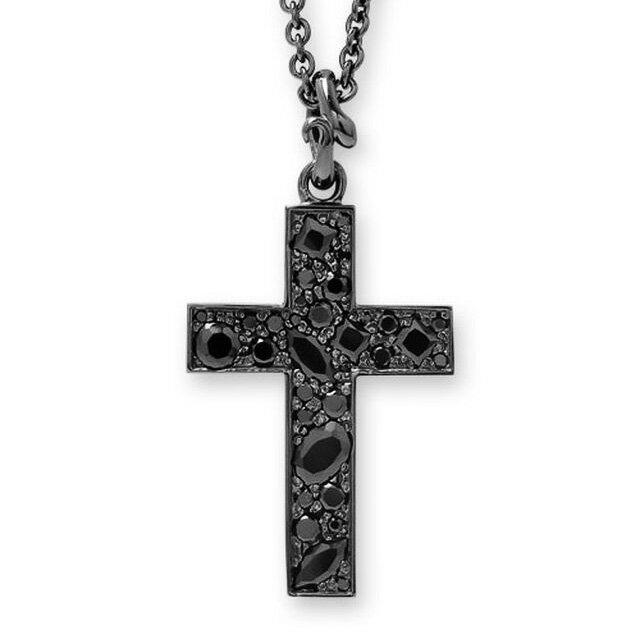 【海外訂購】【Velvet Lounge】玫瑰十字架酷黑鋪鑽項鍊 50cm (V-VLP046  0620350000)