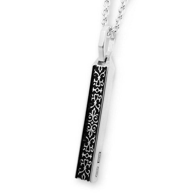 【Velvet Lounge】鑲鑽雕花長方形酷黑純銀項鍊 50cm (V-VLP050B)