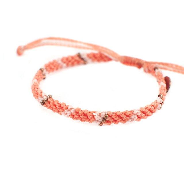 【wakami】Love 愛情金串珠粉橘色編織許願手環 (WA0530-08)