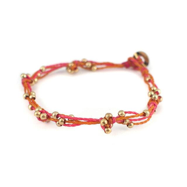 【現貨商品】【wakami】Plants 金塊串珠粉紅色編織款手鍊(WA0536-02 0679150000)