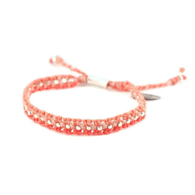 【wakami】粉橘雙色編織許願手環 (WA0547-03)
