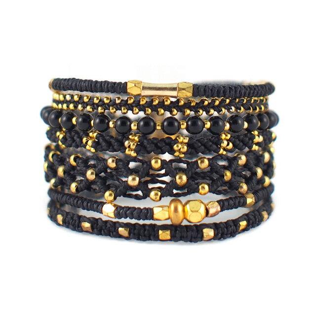 【現貨商品】【wakami】多層次串珠經典黑金編織手環(單扣式)(WA9878  0818090000)