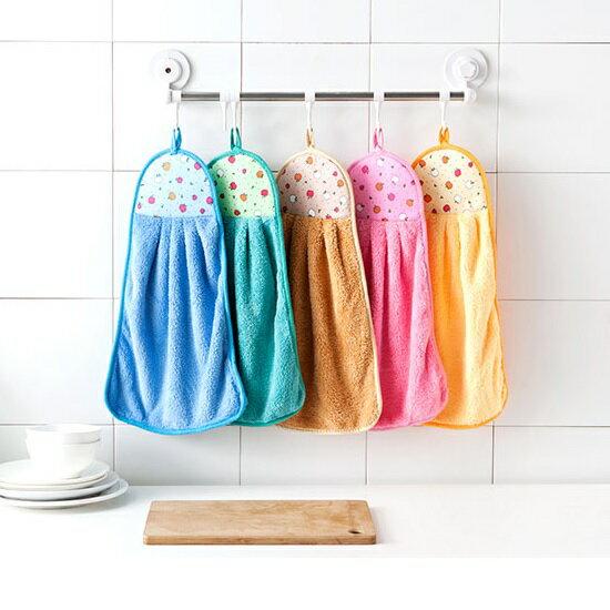 點點 繽紛 絨毛 擦手巾 珊瑚絨 掛式 吸水 抹布 廚房 浴室 馬卡龍 掛巾【RS663】