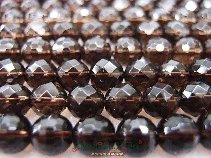 白法水晶礦石城 天然-茶晶(煙水晶)10mm 質透 切面 串珠/條珠 首飾材料