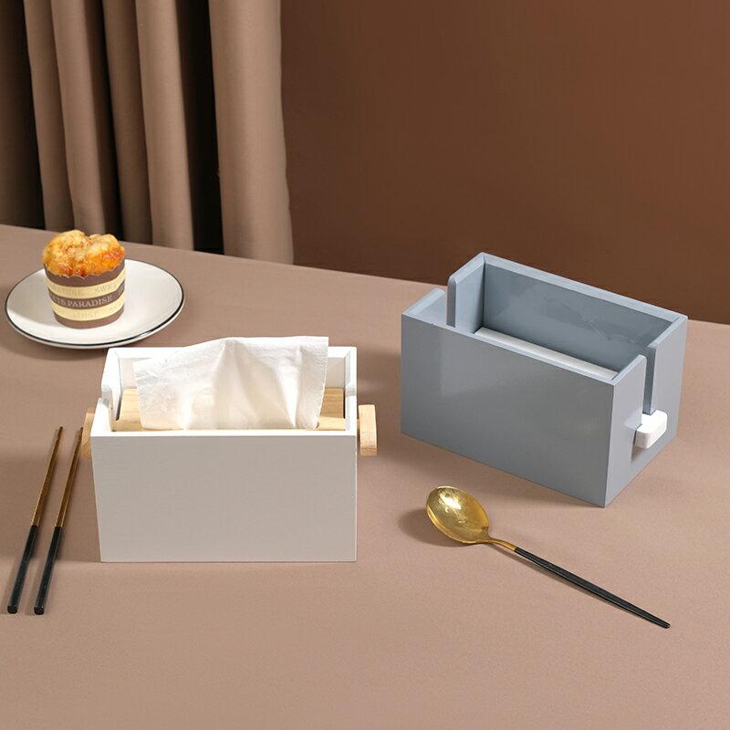木制茶室紙巾盒方形創意餐巾紙抽盒家用客廳升降式收納盒簡約桌面
