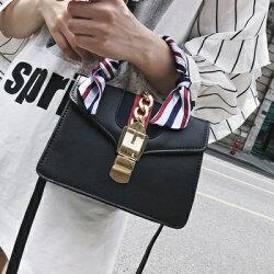 手提包肩背小方包-鎖扣緞帶皮革時尚女包包4色73fc219【獨家進口】【米蘭精品】