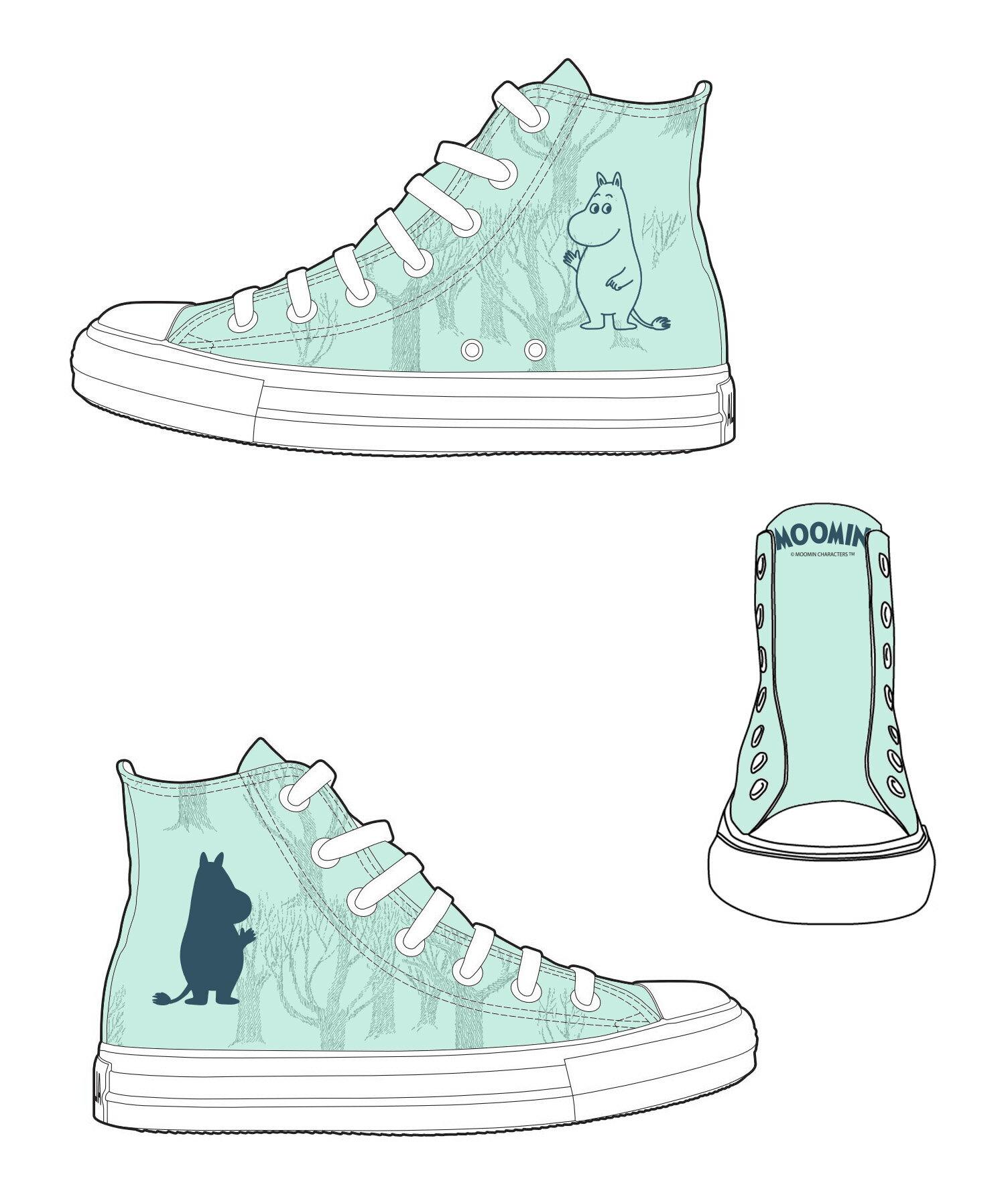 【Moomin】AE23 (綠鞋白帶) - 帆布鞋 (女款限定版)