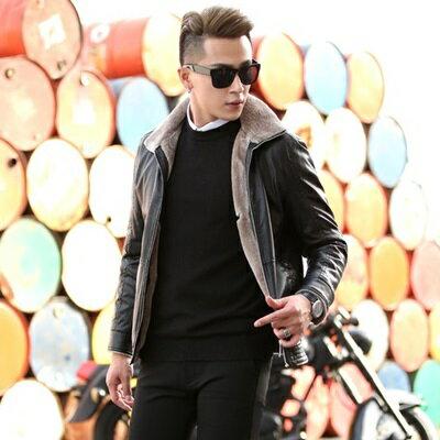 皮衣夾克外套-冬季毛領純色休閒男夾克2色73pn16【獨家進口】【米蘭精品】 0