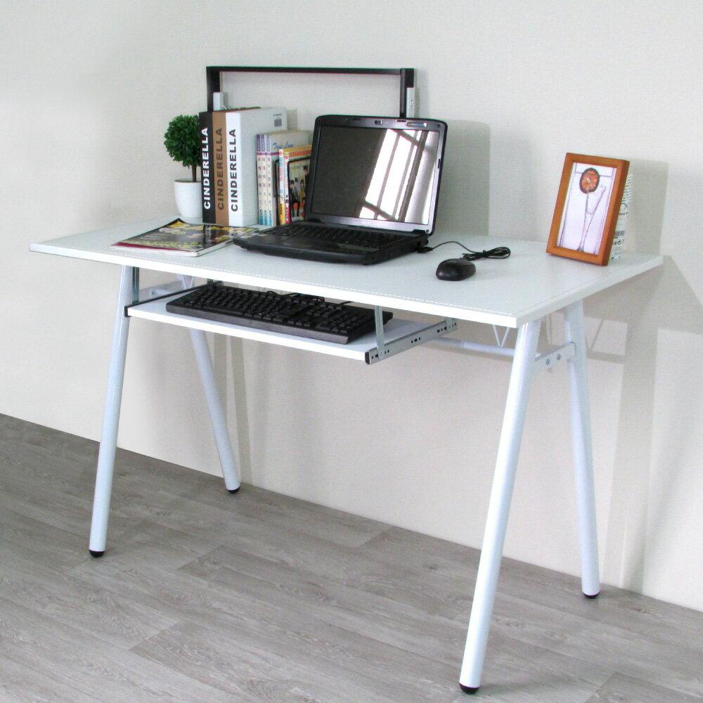 電腦桌 辦公桌 書桌【DCA009+K】環保粗管120公分加鍵盤架-仿馬鞍A型大桌面工作桌 Amos 台灣製造 1