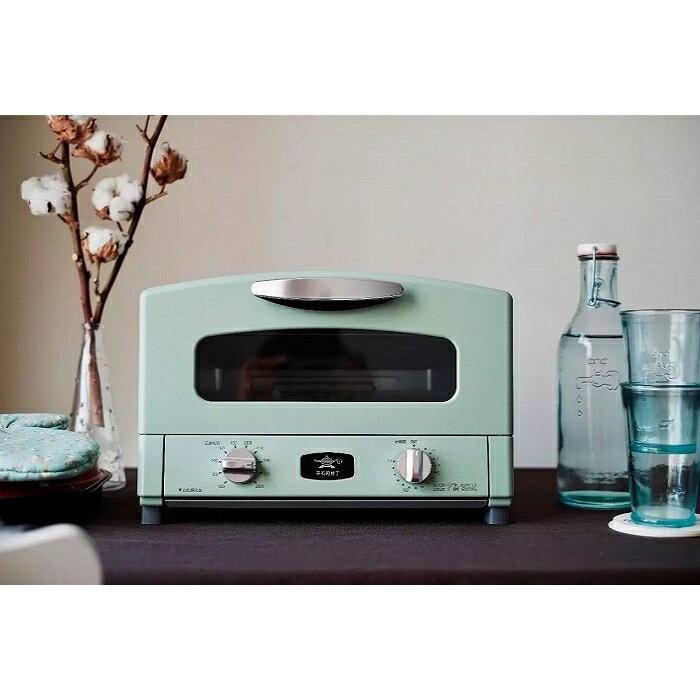 日本Sengoku Aladdin 千石阿拉丁「專利0.2秒瞬熱」4枚焼復古多用途烤箱(附烤盤) AET-G13T-湖水綠 0
