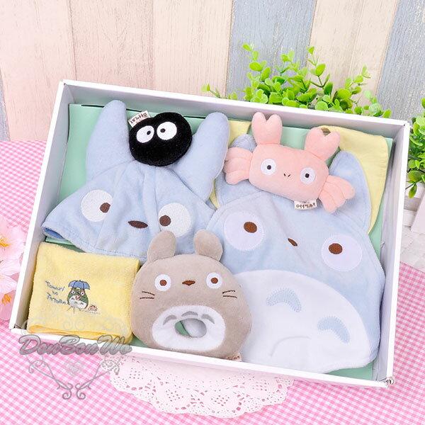 豆豆龍新生兒帽子圍兜手帕安撫玩具彌月禮盒組中龍貓646130海渡