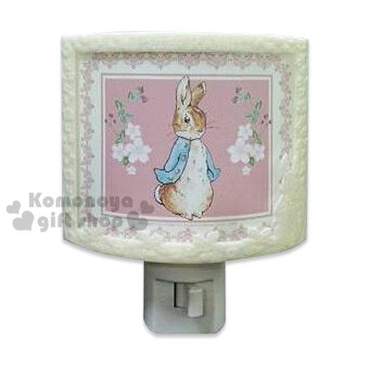 〔小禮堂〕彼得兔 LED造型小夜燈《粉.站姿.花朵.浮雕.半圓形》可手動式開關