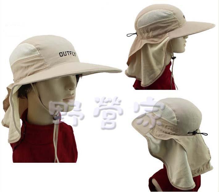 ~野營家~新款 超大沿 戶外防曬帽 釣魚 登山 帶後擺簾帽 透氣 遮陽帽 現貨顏色黑色
