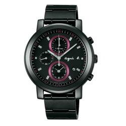agnes b 7T92-0NL0SD(BF8327P1)法式前衛時尚計時腕錶/黑面紅40mm