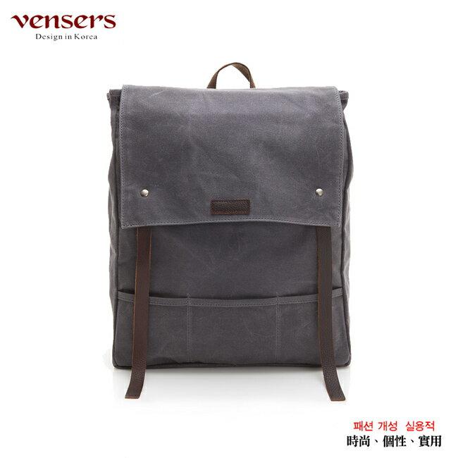 <br/><br/> 【vensers】韓潮棉麻包系列~後背包(C203301灰色防水)<br/><br/>
