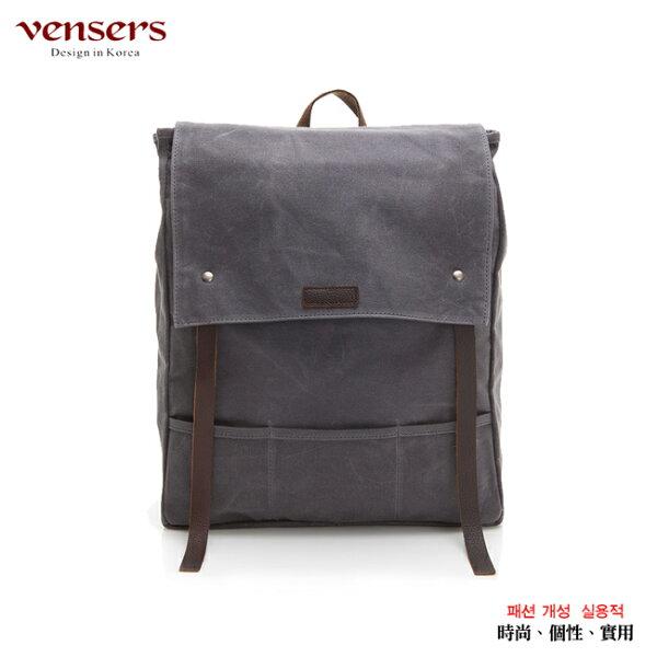 【vensers】韓潮棉麻包系列~後背包(C203301灰色防水)