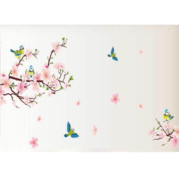BO雜貨【YV1781-1】中國風創意壁貼室內佈置玻璃貼鳥桃花喜鵲AY9189