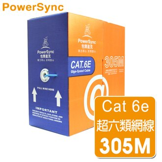 群加 Powersync CAT.6e 1Gbps UTP 台灣製造純銅高速網路線 RJ45 LAN Cable【圓線】藍色 305M 【戶外/施工/佈線/監控用線】